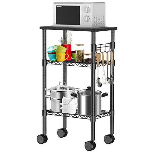 Pipishell 3-Tier Rolling Kitchen Cart, Microwave Oven Stand Cart with Adjustable Mesh Storage Shelves, Lockable Wheels for Kitchen Island, Home, Living Room,Dining Room and Office (Black)