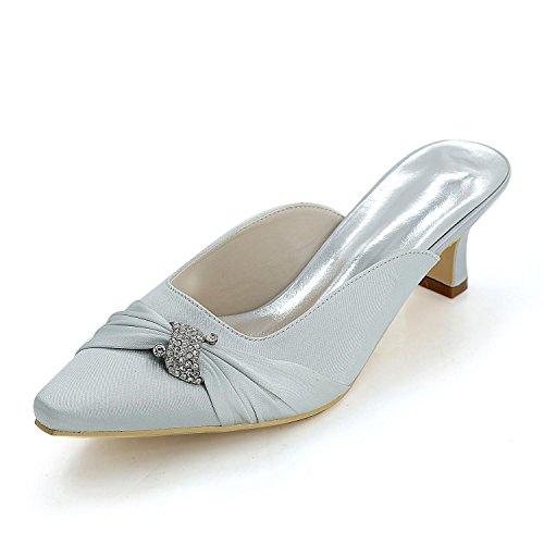 Wedding Heels Women L Exposed Leisure Silver 0723 Custom YC Toe Platform High Slippers Pointed 15B ttqvFS