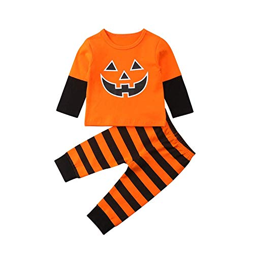 Baby Girls Boys Halloween Clothes Newborn Pumpkin Hoodie Tops Long Striped Pants Outfit Set (Baby Smiley Face Clothes, 0-3 M)]()