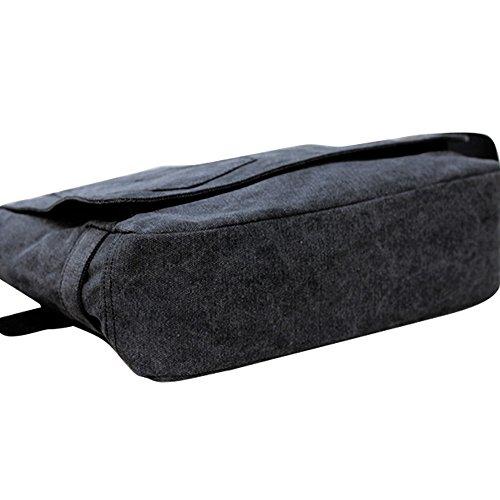 Uomo Cotone Canvas Casual Borsa a Tracolla Crossbody Messager Tablet PC Carry Viaggio Scuola Borsa Nero
