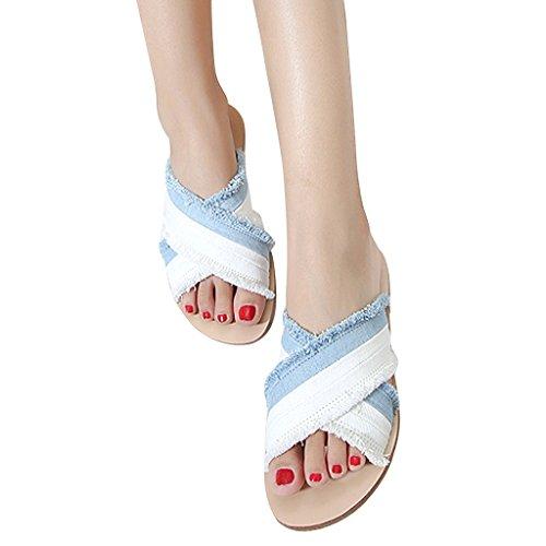 Dame X Bundet Frynsete Stabeis Glir Flat Sandal Av Kjære Tid Hvit