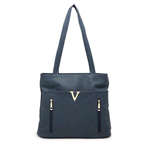 Shoulder Dark Tote Large Leather Bags Quality Women Soft Faux Women's Craze Bag London Handbags For Blue qtwHxf6