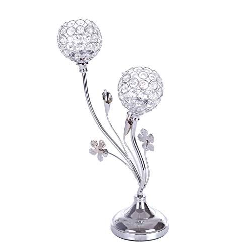 Crystal Candle Holders Centerpieces, Sonmer Crystal Ball Candlestick Holders for Wedding Valentines Day Table Decorations Holiday Gift, US Stock - Two-Day Shipping (Sliver)