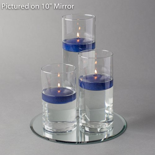 Eastland Round Mirror and Cylinder Vases Centerpiece with Richland Floating Candles 3''. 48 Piece Set (10'' Mirror, Navy Blue) by Eastland