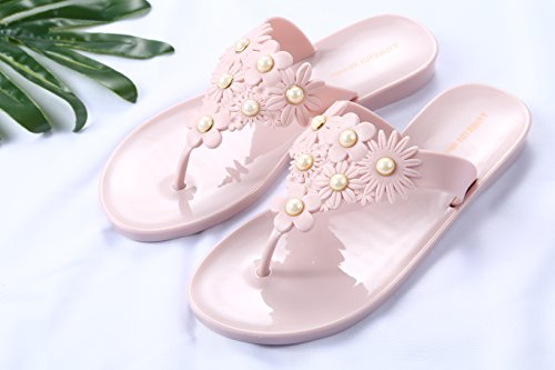 beginning Slipper Tongs Beach Auspicious Perles Camellias Rose et Femme Flat pour wXx0qda0