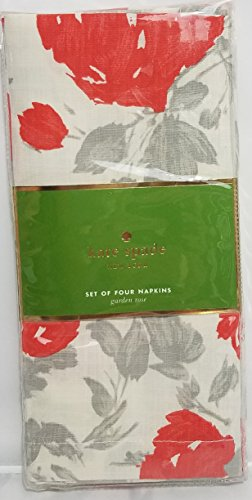 (Kate Spade New York Garden Rose Grey/Coral Napkins, Set of)