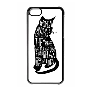 wugdiy Brand New Phone Case for iPhone 5C with diy black cat