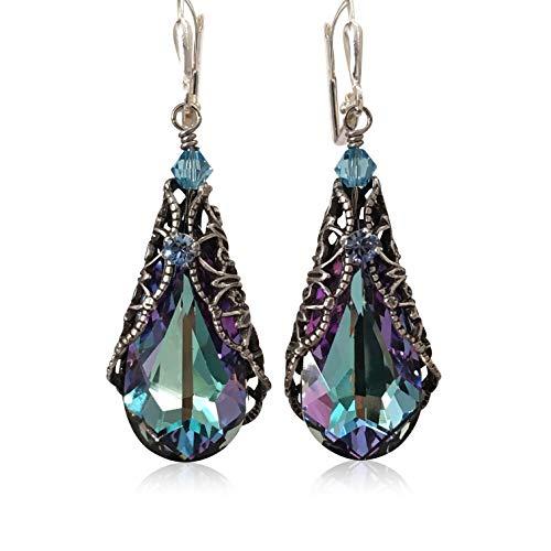 (Teardrop Crystal Vintage Inspired Earrings adorned with Crystal from Swarovski)