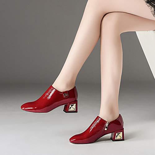 De Travail Épais a Fermeture Gfphfm Côté automne Profonde Tête Talon Printemps Chaussures 36 FemmesCarré Dames Bouche Cuir 2019 Éclair dtxQChsr