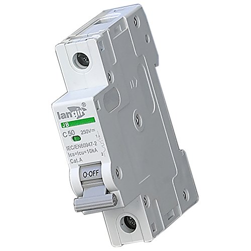 LANGIR 250V DC Single Pole DC Din Rail Circuit Breaker Switch C Curve With TUV Certificates (50A) 50a 2p Circuit Breaker