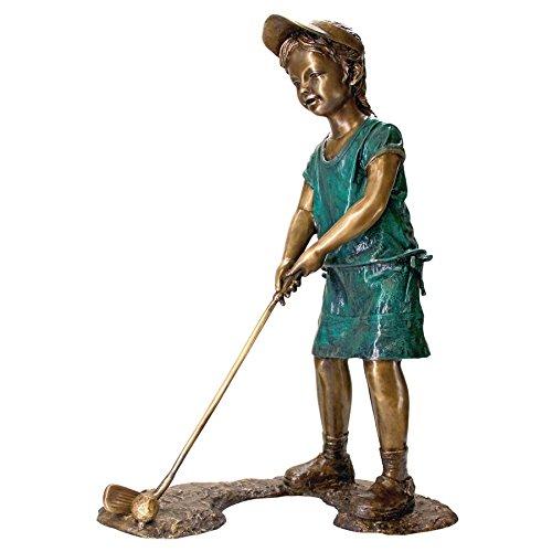 Girl Golfing Bronze Garden Statue