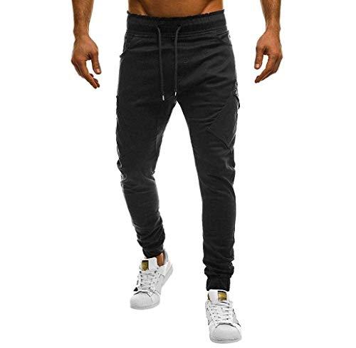 Jogging Lunghi Moderna Chino Casual Haidean Nero Da Sportivi Pantaloni Uomo TFwAftx