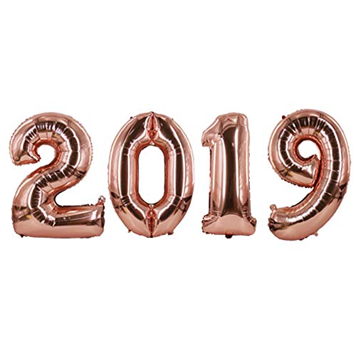 2019 Balloons, 40 inch Graduation Rose Gold Number Balloons Class of 2019 Decoration Party Supplies Foil Mylar Helium Big New Years Eve 2019 Letter Arabic Number Balloons of 2019 BALLOON (Rose Gold)