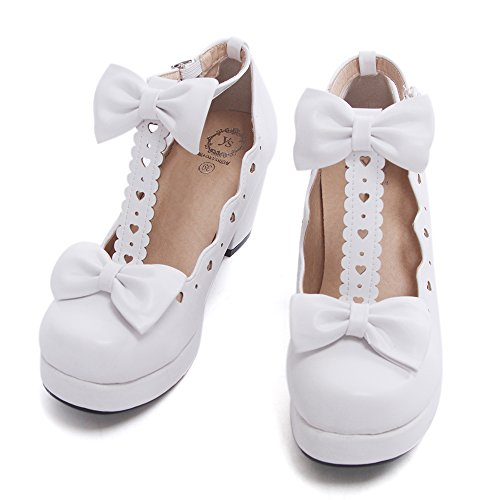 Nuoqi Sweet Lolita Cosplay Round Toe Tea Platform High Chunky Heel Ankle-High Shoes (Shoes Jane Adult White)