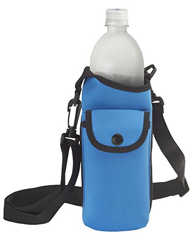 Bottle Carrier Holder - Smooth Trip Neoprene Water Bottle Carrier Bag with Phone Case and Zip Pocket (Royal Blue)