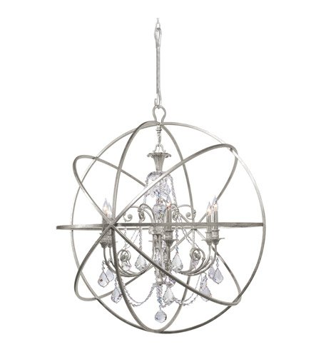 - Chandeliers 6 Light with Olde Silver Clear Swarovski Strass Crystal Wrought Iron 40 inch 360 Watts - World of Lighting
