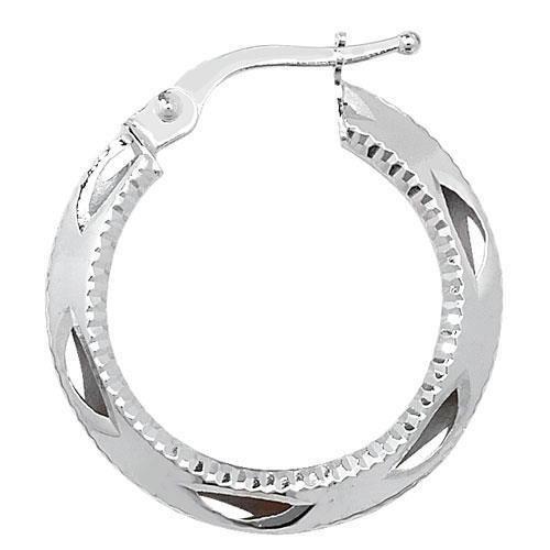 9ct Coupe Diamant Boucles d'oreilles créoles