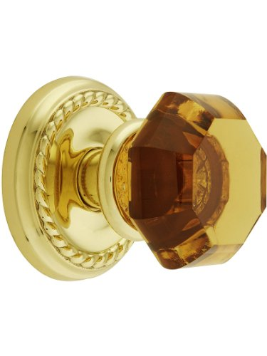 Classic Rope Rosette Set With Amber Crystal Door Knobs Privacy Polished Brass. Doorsets. (Rope Rosette Set)