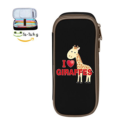 I Love Giraffe 3D Printed Multicolor pen bag,Pencil case Teens pen container,Double zipper student stationery girl's durable large volume bag of makeup bag