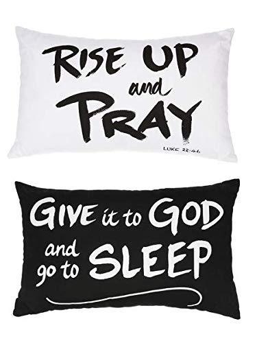 SpringGz Bold Faith Black and White 16 x 10 Cotton Fabric Throw Pillows Set of 2 [並行輸入品] B07R82L952