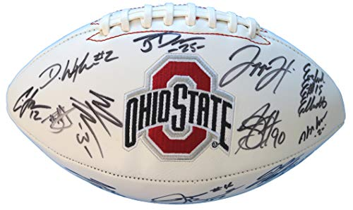 (Ohio State Buckeyes 2014-2015 Team Signed Autographed White Logo Football Meyer Elliott PAAS LOA COA)
