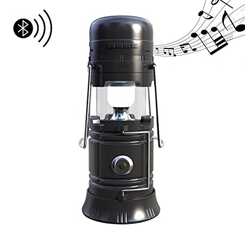 Price comparison product image LED Camping Lantern, Virtoba by JVMAC Portable Multi-functional Outdoor Flashlight Bluetooth Speaker Solar Charging 2200Mah Power Bank Camping Gear for Hunting Hurricane Emergencies Support TF Card
