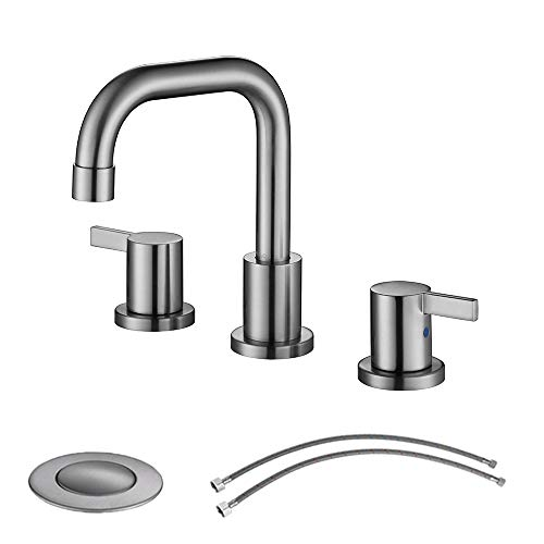 (PARLOS Two-Handle Widespread Bathroom Faucet with Pop-up Drain Assembly and cUPC Faucet Supply Lines, Brushed Nickel, 13649)