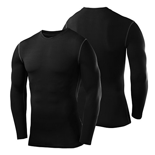 PowerLayer Men's Boys Compression Shirt Long Sleeve Base Layer Thermal Top - Black Large Boy (10-12 Years) by PowerLayer (Image #5)