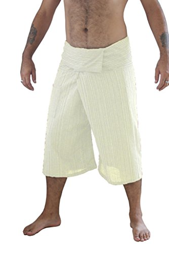 Siam Secrets 100% Cotton Pinstripe 3/4 Capri Thai Fisherman Pants Plus White ()
