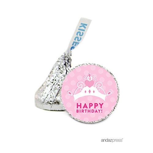 Andaz Press Chocolate Drop Labels Stickers, Birthday, Princess Tiara Crown, 216-Pack, For Hershey's Kisses Party Favors, Gifts, Decorations
