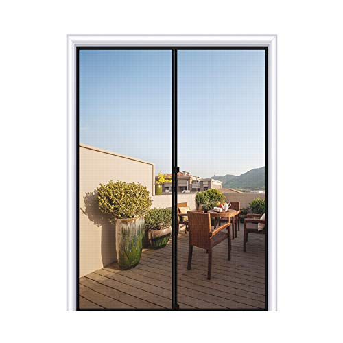 MAGZO Magnetic Screen Door 48 x 80, Reinforced Fiberglass Mesh Curtain Double Door Mesh with Full Frame Hook&Loop Fits Door Size up to 48