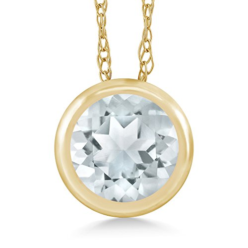 Gem Stone King Sky Blue Aquamarine 14K Yellow Gold Pendant Necklace 0.45 Ct Round With 18 Inch ()