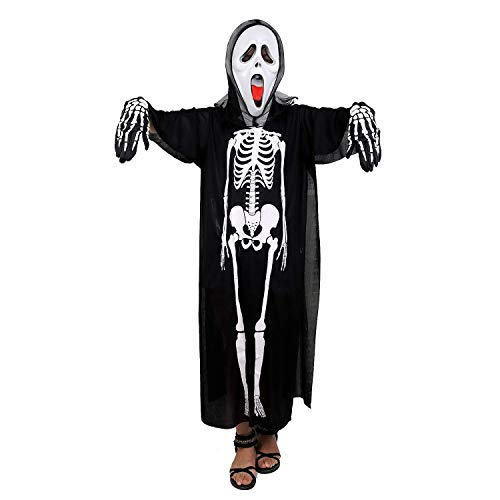 LONTG Screaming Skeleton Ghost with Skeleton Gloves and Mask Adult Ghost Costume Black Ghost Halloween Costume Party Supplies