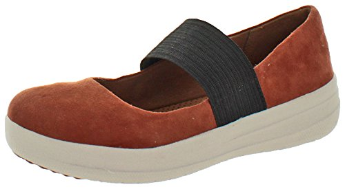 Fitflop Womens F-sporty Mary Jane Semsket Flate Sko Mørk Brunfarge