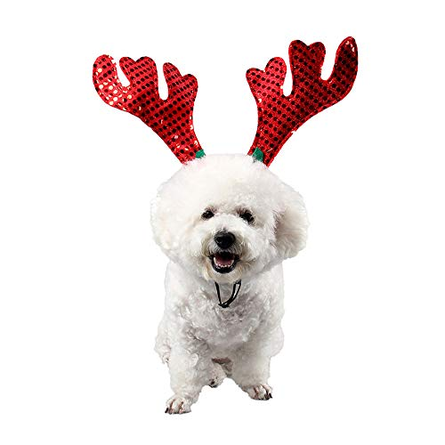 Glumes Christmas Pet Candy Canes Costume - Adjustable Dog Christmas Candy Hat Pet Costume Rainbow Candy Canes Caps Classic Headband