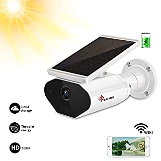 Sanan Solar Security Camera Wireless Outdoor Camera 1080P WiFi Camera - HD Night Vision, Motion Detection, IP66 Waterproof, 2-Way Audio, Works with Alexa, Compatible with TF Card Slot/Cloud Storage