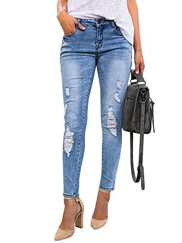 (Meilidress Womens Destroyed Ripped Holes Skinny Jeans Leggings Low Stretchy Straight Leg Slim Fit Denim Pants)