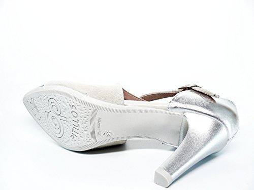 Zapato mujer vestir en piel Nobuk Hielo combinado puntera metalizada Plata de PITILLOS - 1103 - 557 Hielo