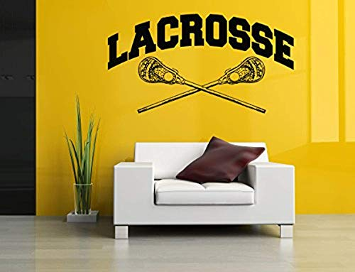 AnewDecals Removable Vinyl Sticker Mural Decal Wall Art Decor Helmet Lax Lacrosse Racket Poster Sport Ball Active Boy Girl Bedroom Nursery Playroom Trophy MZ2220]()