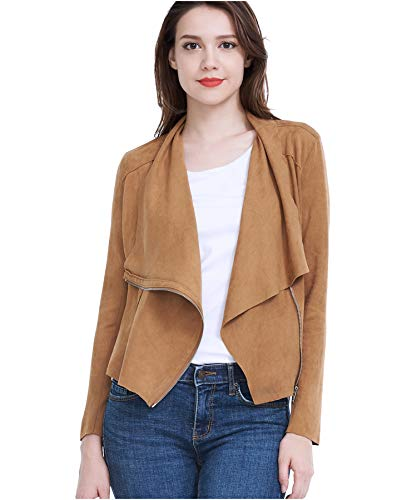 (Fasbric Women Spring Autumn Lightweight Jackets Suede Zipper Solid Coat Tops Outwear-Brown-S)