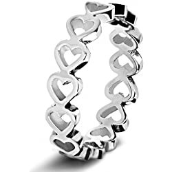Women's Stainless Steel Open Heart Eternity Ring Valentine's Day gift