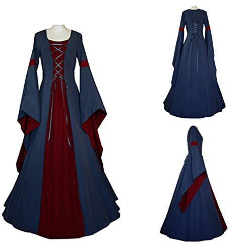 Women's Medieval Dress Halloween Cosplay Costume Lace Up Vintage Floor Length Retro Long Dress (L, A-blue+red)