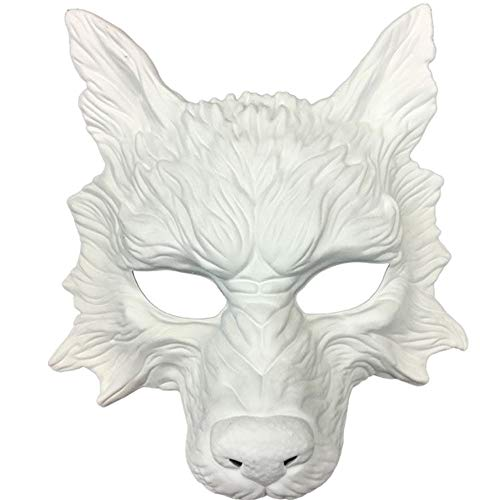 Storm Buy] Wolf Mask Blank White Scary Horror Devil Wolf Animal Masquerade Halloween Costume Cosplay Party mask (White) ()
