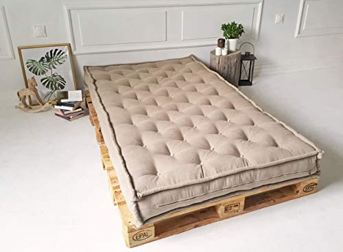 Twin Tufted Organic Wool - Wool Mattress/Twin, Full, Queen, King or Any Custom Sizes, Shapes & Fabrics (Custom Fabric, Custom Size)