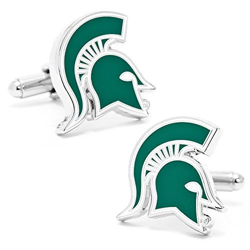Spartans State Cufflinks Michigan (NCAA Mens Michigan State Spartans Cufflinks And Tie Bar Gift Set)