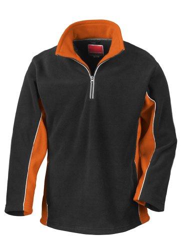 Tech3 Fleece-Sportsweatshirt mit 1/4 Reißverschluss XL,Black/Orange