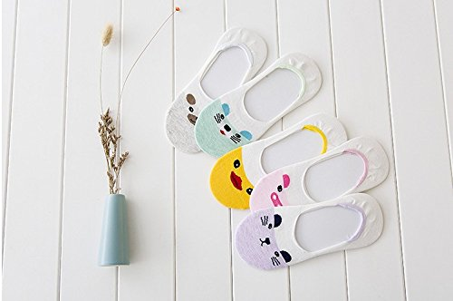Generic 5 pairs Super Meng small animals, cartoon ladies cotton socks invisible silicone non-slip socks by Generic