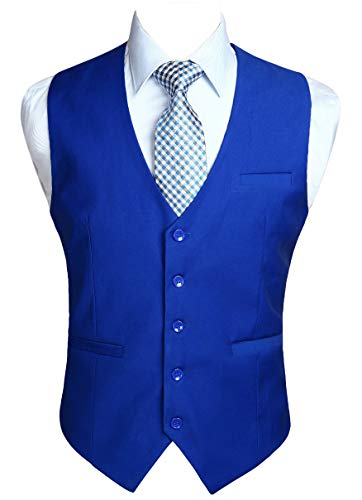 HISDERN Men's Suit Vest Business Formal Dress Waistcoat Vest with 3 Pockets for Suit or Tuxedo Royal Blue