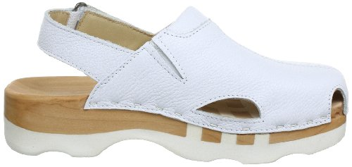 Woody London 222/23D - Zuecos de cuero para mujer Blanco (Weiß (Sport Nappa weiß))