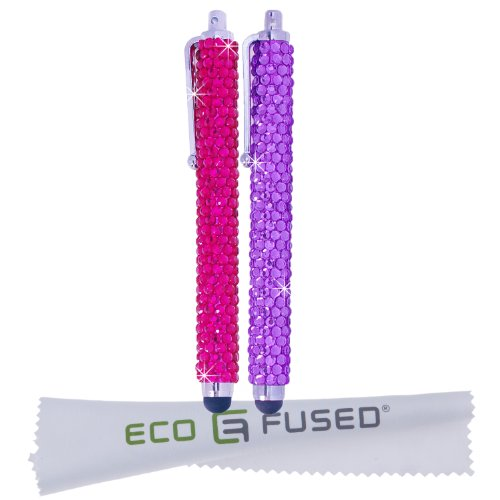 Eco-Fused Universal Bling Stylus Pens - 2 Long Gem Covered Stylus Pens - For All Capacitive Touchscreen Devices - iPad, iPhone, Samsung Phones, All Android Phones, Tablets and More